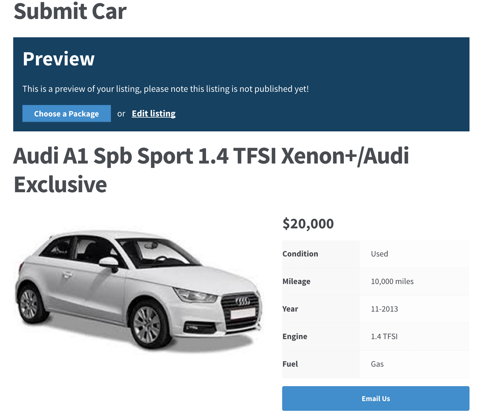 WP Car Manager Submit Car Listing