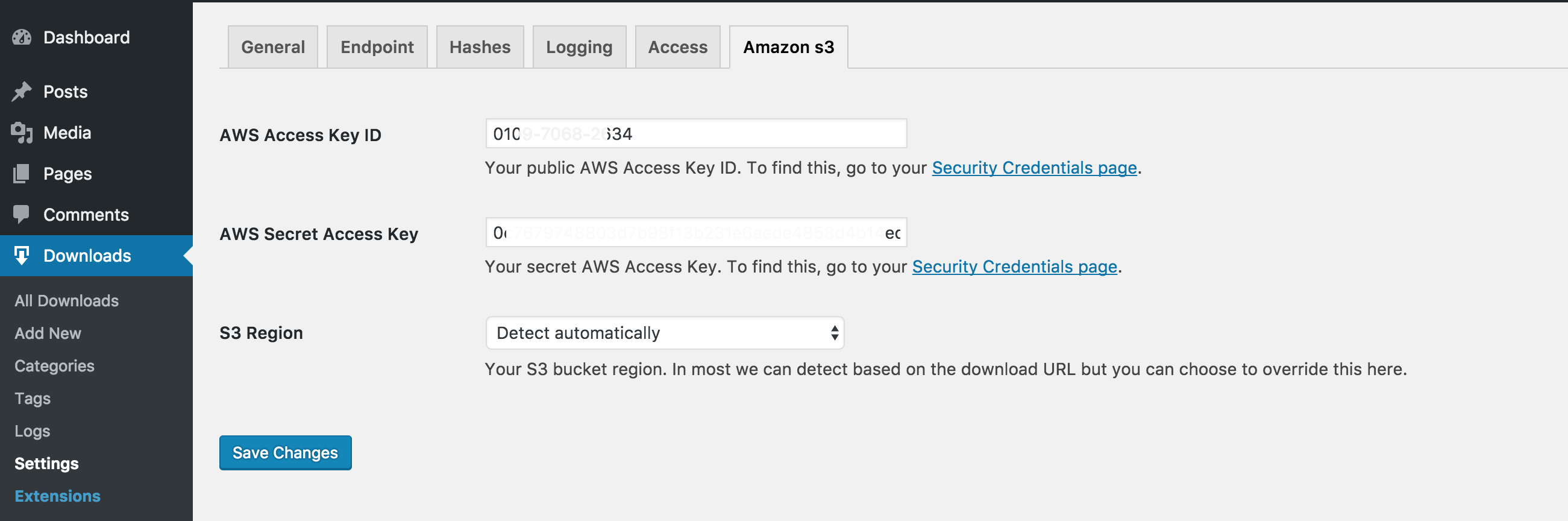 Enter your AWS API credentials